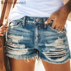 2020 Summer Denim Short Jeans Women Sexy Mid Waist Hole Ripped Shorts Fashion Casual Slim Denim Shorts Lady Hotpants Streetwear