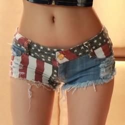 Mid Waist Jeans Shorts 2016 Women New Fashion USA Flag Printed Denim Pole Dance Skinny Hot Hole Short Pants S-XXL