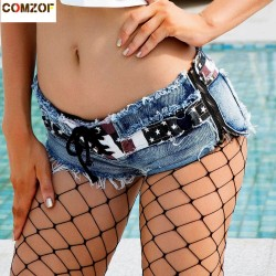 Low waist women sexy denim shorts bandage hole zipper nightclub summer hot jeans pole dance flag rough selvedge shorts