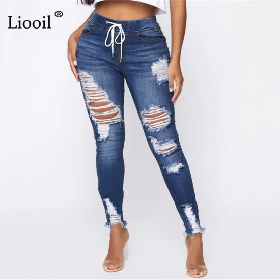 Light Blue Ripped Jeans for Women 2021 Street Style Sexy Mid Rise Distressed Trouser Stretch Skinny Hole Denim Pencil Pants