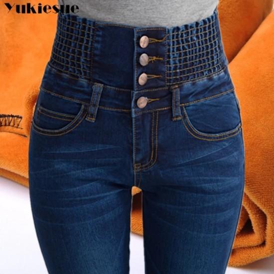 Womens Winter Jeans High Waist Skinny Pants Fleece /no velvet Elastic Waist Jeggings Casual Plus Size Jeans For Women Warm Jeans