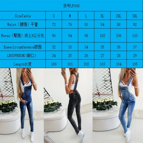 Women's Broken Hole Jeans Fashion Jumpsuit Long Female Pants Overalls One Piece Skinny Jumpsuit High Street Spring Autumn Wear