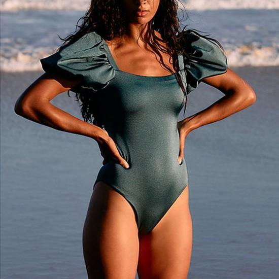 Sexy Bikini 2021 Solid Color Tankini Sport Bandeau Swimsuit Short Sleeve Summer High Waist Cut Backless Bathing Suit Beachwear