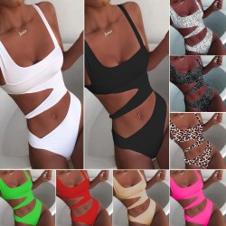 2020 New Sexy White One Piece Swimsuit Women Cut Out Swimwear Push Up Monokini Bathing Suits Beach Wear Swimming Suit For Women