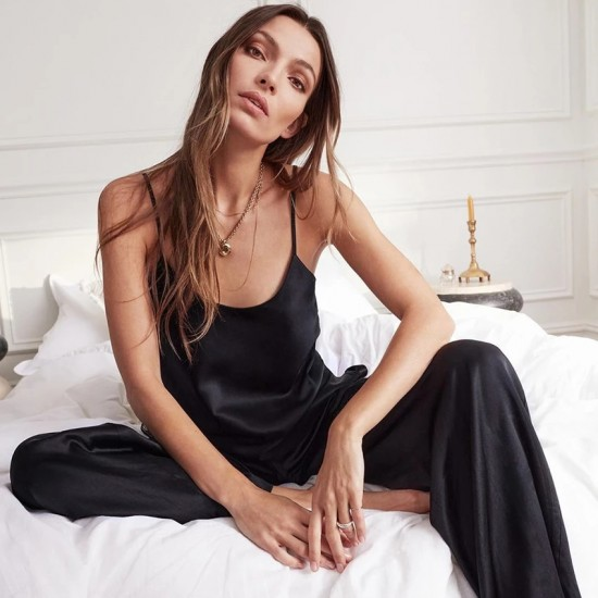 HiLoc Backless Satin Sexy Pajamas Black Lace Pajamas With Pants Loose Spaghetti Strap Intimate Lingerie Sleepwear Women Pj Set