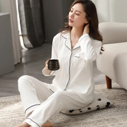 100% Cotton Pajamas for Women PJ Full Sleeves Pijama Mujer Invierno Button-Down Winter Sleepwear Set Women White Cotton Pyjamas