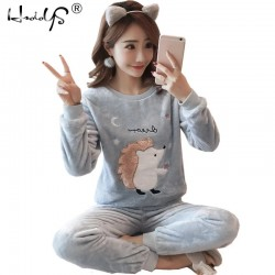 2020 Autumn Winter Women Pajamas Set Sleep Jacket Pant Sleepwear Warm Nightgown Female Cartoon Bear Animal Pants Sleepwear