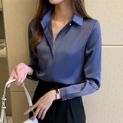 Silk Shirts Women White Shirt Women Long Sleeve Shirts Blouse Office Lady Satin Silk Blouse Tops Plus Size Woman Basic Shirt Top