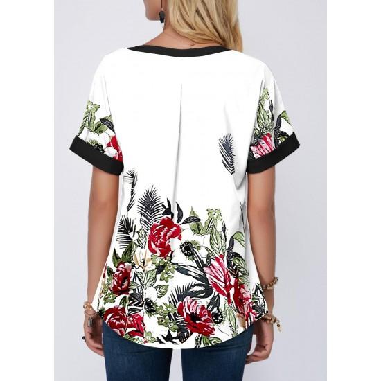 Vintage Women 3D Floral Printed Blouse Summer 2020 Casual V-Neck Patchwork Tops Shirt Ladies Elegant Loose Blouse 5XL Plus Size