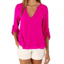 3/4 Sleeve Deep V Neck Chiffon Blouse Summer Autumn Women Casual Button Tops Solid Shirt Blusas Plus Size