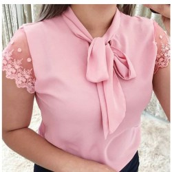 S-5XL New 2021 Lace Up Bow Tie Shirt Summer Short Sleeve Solid Chiffon Casual Blouse Plus Size 5xl Office Lady Blusas Woman Tops