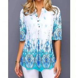 Shirt Blouse Fashion 2020 Large Size Tops Women  Casual V Neck Shirt Ladies Loose Floral Print Tunic Shirt