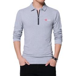 TFETTERS Autumn Mens Fashion Zipper Collar Design Men T-shirt Long Sleeve Cotton Tee Solid Color Business T-shirt Men Top