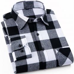 Pure cotton flannel shirt men's plaid shirt  autumn men's brand casual long-sleeved shirt soft and comfortable men's shirt 4XL