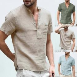 2020 New Mens Spring Summer Casual Shirt Short Sleeve Cotton Linen Shirts Men Loose Collar Button Shirt silk Chemise Homme