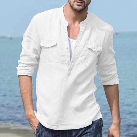 2020 New Men's Summer Long Sleeve Cotton Linen Long Sleeve Cotton Casual Breathable Shirts Style Solid Male Shirts