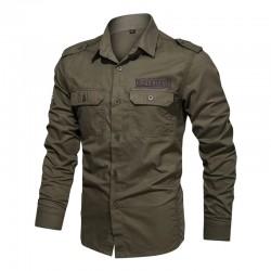 2020 New Spring Military Men Shirt 100% Cotton Long Sleeve Shirts for Men Epaulets Mens Army Shirts Top Quality Men Clothing