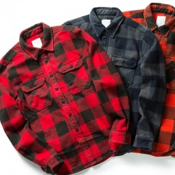 100% Cotton Heavyweight Retro Vintage Spring Autumn Winter Long Sleeve Buffalo Plaid Flannel Shirt Jacket for Men