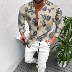 New Autumn Spring Clothes Cotton Linen Shirt Men Long Sleeves Print Hawaiian Beach Casual FloralSingle Breasted Cardigan Shirt