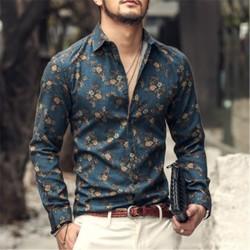 autumn ins new fashion flower printed long sleeve shirts men camisa male slim flower shirt vintage Linen Casual Men Shirt S2004