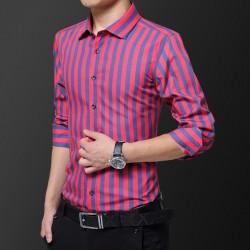 Men's Long Sleeve Plaid/Striped Mens Business Casual Long Sleeved Shirt Classic Striped Male Social Dress Shirts Men Striped