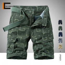 2020 Summer New Men Military Shorts Casual Loose Knee Length Mens Cargo Shorts Vintage Classic Pockets Printing Cargo Shorts
