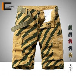 2020 Men Summer New Fashion Printing Pattern Cotton Cargo Shorts Male Casual Loose Fit Multi Pockets Striped Shorts Man Legwear