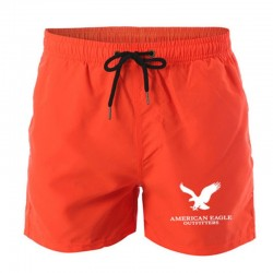 Men's orange printed casual shorts Eagle printed sports shorts Men's outdoor jogging solid color shorts quick-drying beach short