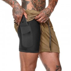 2 em 1 dos homens Shorts de Corrida Seguranca Bolsos Calcoes de Secagem Rapida Desporto de Lazer Bolsos Embutidos Quadris Hiden