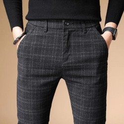 2020 Autumn Upscale Men Casual Pants Thick Cotton and Linen Male Pant Straight Trousers Business Plus Size 38
