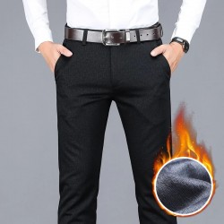2020 winter new men's warm casual pants Business fashion Fleece thick plaid trousers Office stretch pants male Brand