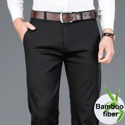 2020 Autumn New Men's Bamboo Fiber Casual Pants Classic Style Business Fashion Khaki Stretch Cotton Trousers Male Brand Clothes