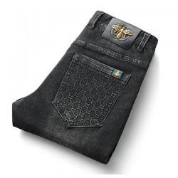 Black Color Autumn Winter Men's Jeans Cotton Slim Elastic GC Brand Business Trousers Classic Style Jeans Denim Pants Male Pants