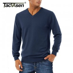 TACVASEN Sweater Men Autumn V-Neck Long Sleeve Knitted Sweater Pullovers Fashion Casual Slim Fit Sweatercoats Men Clothing M-3XL