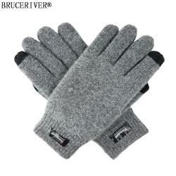 Bruceriver Men's Pure Wool Knitted Touch screen Gloves with Thinsulate Lining and Elastic Rib Cuff