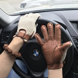 Men Deerskin Gloves Knitted + Leather Gloves Male Breathable Unlined Locomotive Driving Gloves NEW Fashion Man Leather Gloves