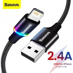 Baseus LED USB Cable For iPhone 12 11 Pro Xs Max X Xr 8 7 6 6S Fast Charging Charger Mobile Phone Data Cable For iPad Wire Cord