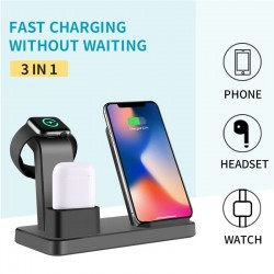3 IN 1 Qi Wireless Charger Holder For Apple Watch For iPhone For Apple AirPods Accessories For Samsung Phone Charger Pad 19Apr5