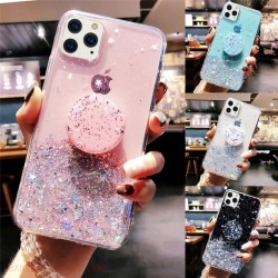Bling Glitter Soft Phone Case For iPhone 11 Pro XS Max XR 8 7 6 Plus Slim With Holder Stand Back Cover iphone 12 Pro X SE 2 Case