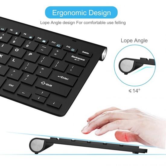 Computer Wireless keyboard Portable 2.4G Wireless USB Keyboards Rubber keycaps Mini Ergonomic Noiseless keyboard For PC laptop
