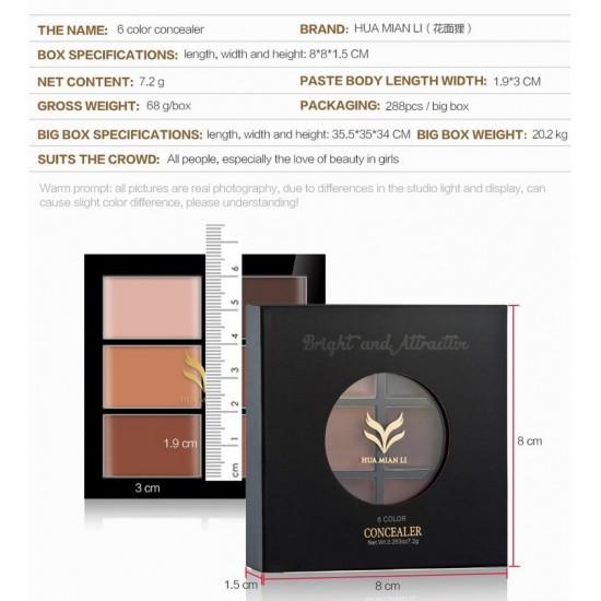 brand 6 color Natural Professional Concealer Palettes makeup Facial Face Cream Cosmetic make up cream contour powder wholesale
