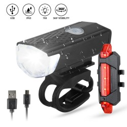 Loozykit Bike Bicycle Light USB LED Rechargeable Set Mountain Cycle Front Back Headlight Lamp Flashlight