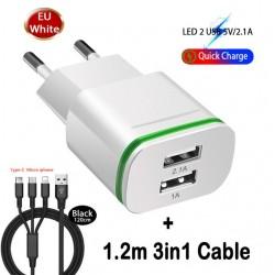Good EU/USA Plug 5V/2.1A Wall Charger Dual 2 Ports USB LED Light Fast Charging Power Adapter High Quality Phone USB Fast Charger