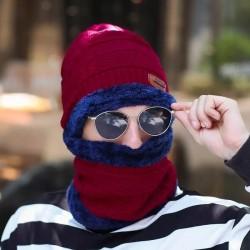 New Men Warm  Beanie + Soft Scarf Two-Piece Set Winter Thicken Hat Male Windproof Knitting Caps Neck Warmer