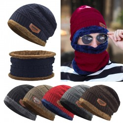 New Men Warm  Beanie + Soft Scarf Two-Piece Set Winter Thicken Hat Male Windproof Knitting Caps Neck Warmer