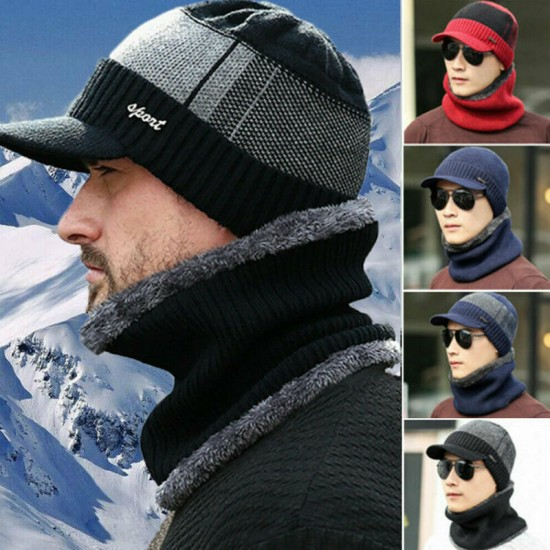 Men Unisex Sports Winter Warm Hat Knit Visor Beanie Fleece Lined Billed Beanie with Brim Cap