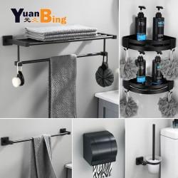Modern Aluminum Bathroom Accessories Sets Black Toilet Brush Towel Rack Paper Holder Robe Hook Towel Bar Bathroom Hardware
