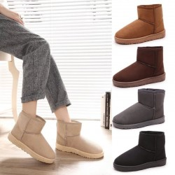 2020 Classic Sheepskin Suede Leather Wool Fur Lining Ladies Ankle Winter Boots Female Basic Snow Boots Winter Shoes Black Brown