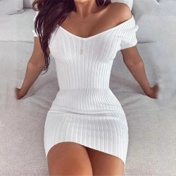 Sexy Club Off Shoulder Long Sleeve Bodycon Dress For Women 2020 Winter White Knitted Sweater Mini Woman Dresses Robe Femme