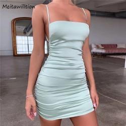 Women Vintage Spaghetti Strap Satin Mini Dress 2020 Sexy Backless Bodycon Party Dress Sleeveless Pleated Club Dresses
